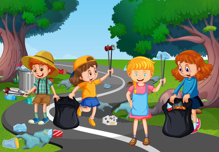 Kids volunteering cleaning up park illustration Vettoriali