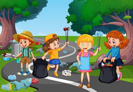 Niños voluntarios limpiando ilustración del parque