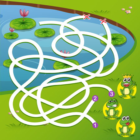 A frog maze game illustration
