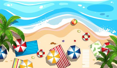 Summer beach aerial view illustration