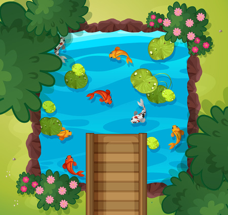 An aerial view of fish pond illustration