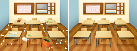 A classroom before and after clean illustration Çizim