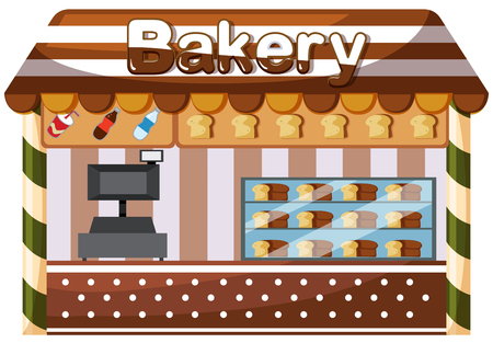 A bakery shop on white background illustration