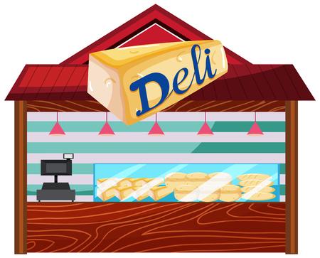 A bakery shop on white background illustration