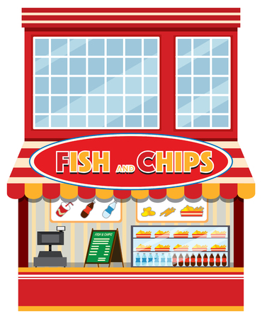 A fish and chips shop illustration