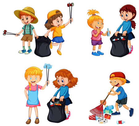 A set of kids volunteering cleaning up illustration