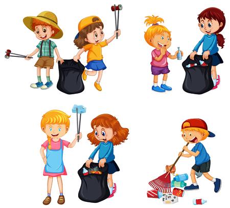 A set of kids volunteering cleaning up illustration
