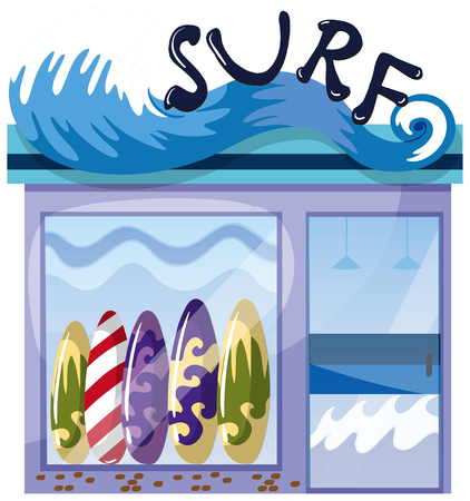 A surf shop on white background illustration Vectores