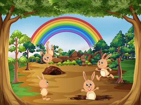 Cute rabbits in nature illustration