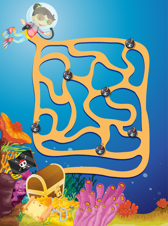 Underground maze puzzle game illustration