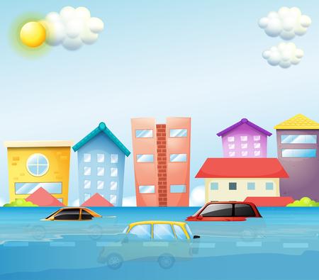 A flood in big city illustration