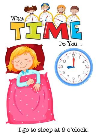 Una niña se va a dormir a las 9 en punto ilustración.