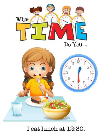 A girl eating lunch at 12:30 illustration Illustration