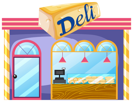 A deli shop on white background illustration