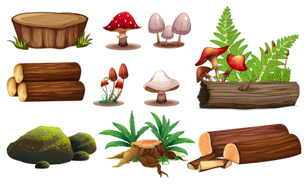 A set of wood element illustration 矢量图像