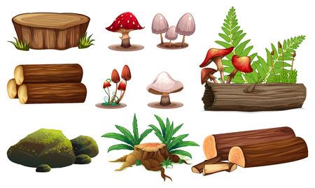 Un ensemble d'illustrations d'éléments en bois Vecteurs