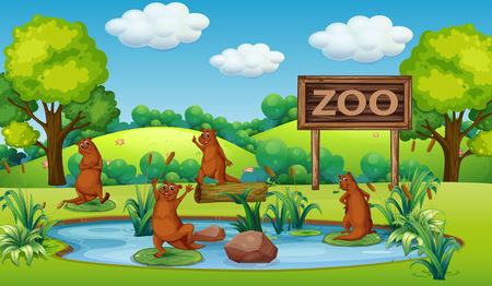 Otter at the zoo illustration