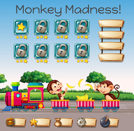 A monkey madness game template illustration Illustration