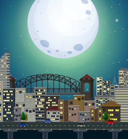 A giant full moon city scene illustration