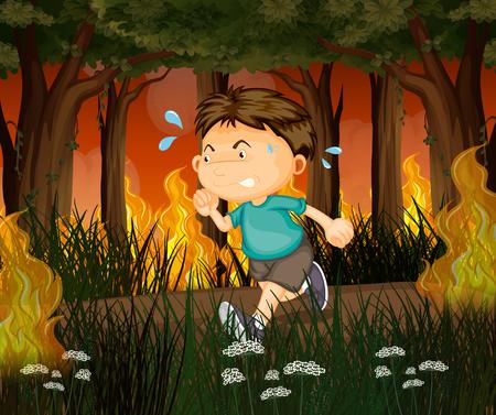 Un garçon s'enfuit de l'illustration d'une forêt incendiée