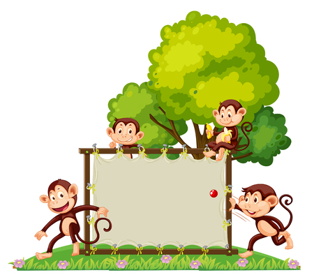 A group of monkey playing at the banner illustration