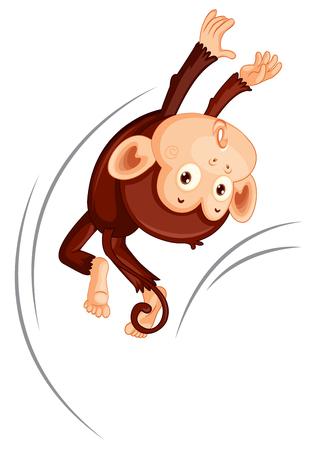 A monkey jumping on white background illustration
