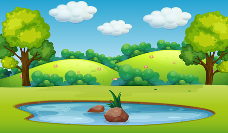 A nature pond landscape illustration Illustration