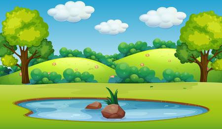 Una ilustración de paisaje de estanque de naturaleza Ilustración de vector