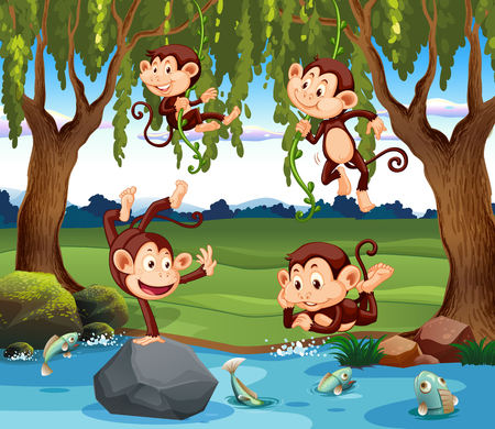 A group of monkey in nature illustration