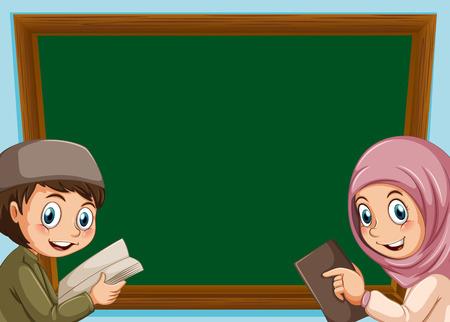 A muslim boy and girl board illustration