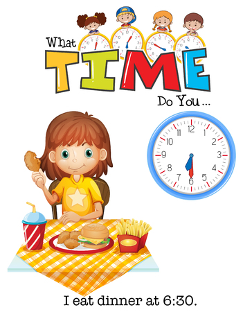 A girl eat dinner at 6:30 illustration Illustration