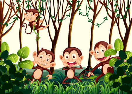 Monkey living in the jungle illustration