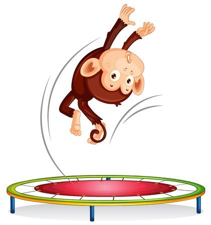 A monkey jumping on trampoline illustration Illustration