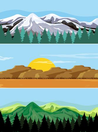 Un conjunto de ilustración de paisaje de montaña.
