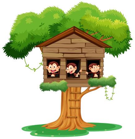 monkey playing at treehouse illustration