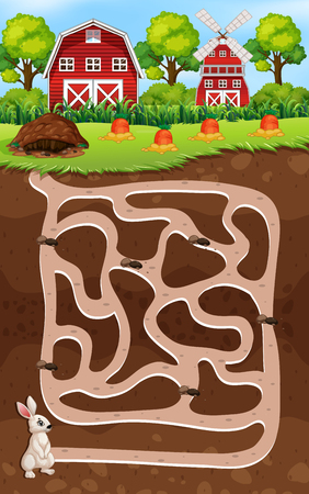 A rabbit maze game illustration Stock Illustratie