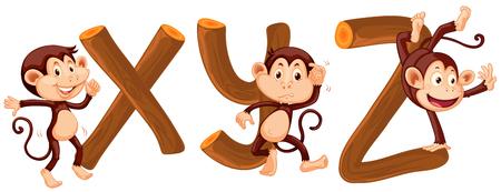 Monkey and wood alphabet illustration Illustration