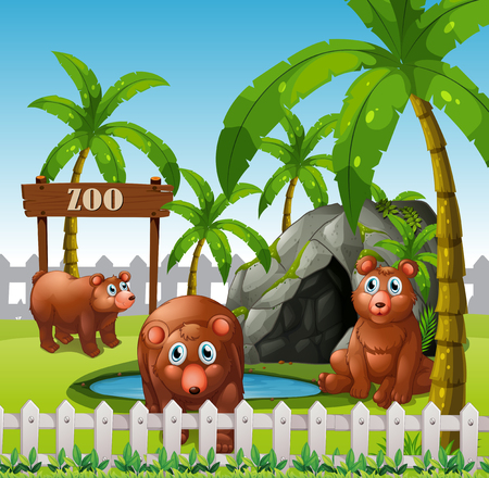 A bear family in the zoo illustration