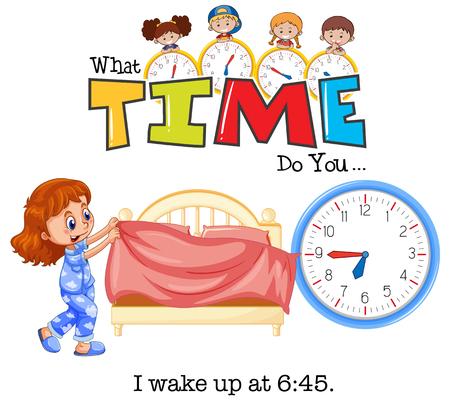A girl wake up at 6:45 illustration