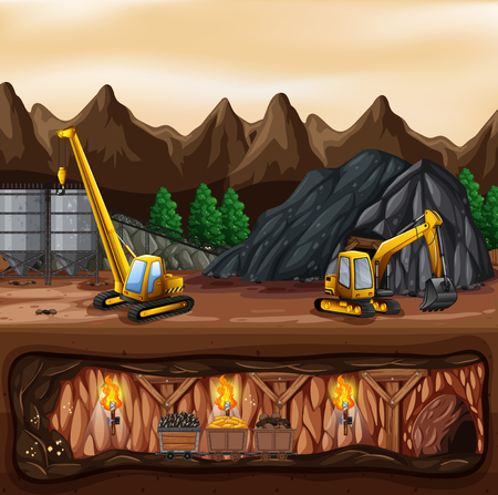 A coal mine landscape illustration 矢量图像