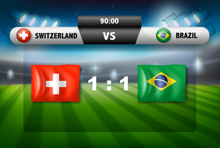 Schweiz VS Brasilien Fußballspiel Illustration