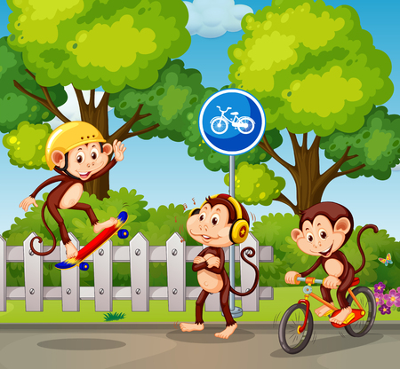 A group of monkey and extreme sport illustration