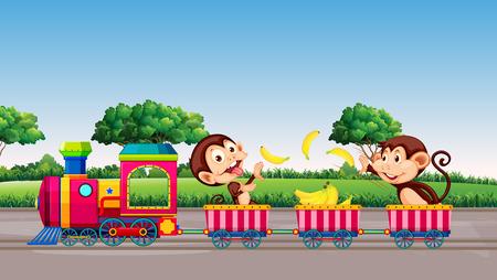 Monkey riding a train illustration Vetores