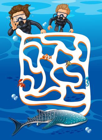 Scuba diving find whale shark maze game illustration