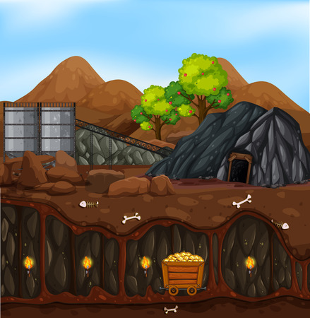 A gold mine landscape illustration Иллюстрация