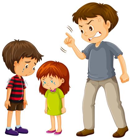 Un padre se queja ilustración de niños.