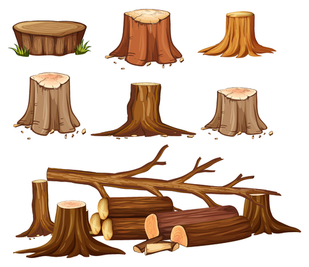 A set of deforestation illustration
