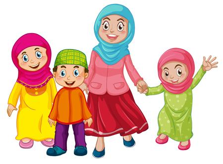 Une famille musulmane sur fond blanc illustration Vecteurs