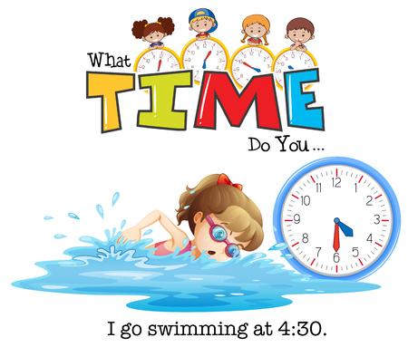 A girl swimming at 4:30 illustration