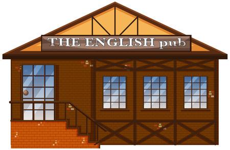 The English pub on white background illustration